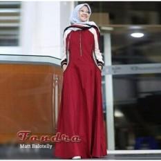 Baju Muslim Fandra Dress Gamis Panjang Hijab Casual Pakaian Wanita Hijab Modern