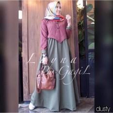 Baju Muslim Gamis Layna Maxy Dress Balotely Baju Panjang Casual Wanita  Hijab Baju c4b4e5b696