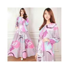 Baju Muslim / Gamis Maxi Dress Katun Motif Bunga Abu-Pink  (Emma 01) Tanpa Pasmina