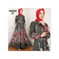 Baju Muslim / Gamis Maxi Dress Katun Motif Bunga  Emma 29 (Tanpa Hjab)