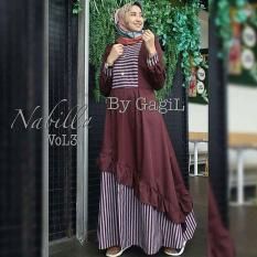 Baju Muslim Gamis Nabila Dress Vol3 Dress Baloteli Panjang Hijab Casual Pakaian Wanita Hijab Modis @rk