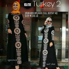 Baju Muslim Gamis Turkey Maxy Wolfice Full Bordir Aplikasi Payet Panjang Hijab Casual Pakaian Wanita Hijab Modis  @rk