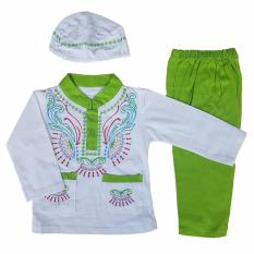Baju Muslim Koko (6-12 Bulan) Anak Bayi Laki-Laki Setelan Set Peci LY4