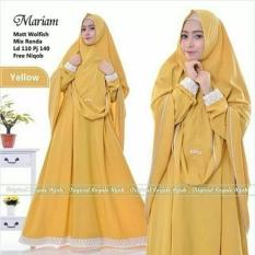 Baju Muslim Maryam Syari+Khimar Wolfice Aplikasi Renda Gamis Panjang Hijab Casual Pakaian Wanita Hijab Modern