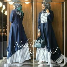 Baju Muslim New Nabila Dress Gamis Panjang Hijab Casual Pakaian Wanita Hijab Modern
