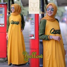 Baju Muslim Original Gamis Queen Dress Baju Panjang Muslim Casual Wanita Pakaian Hijab Modern Modis Trendy Terbaru 2018