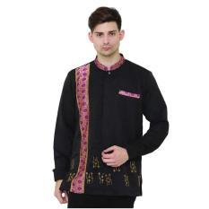 baju muslim pria,baju koko murah,busana muslim pria MMT 023 / kemeja muslim pria lengan panjang pria / kemeja koko warna hitam / baju hari raya