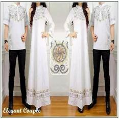 Baju Muslim Sarimbit - Couple Elegan Putih Cp Batik