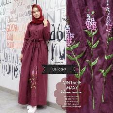 Baju Muslim Vintage maxy Gamis Panjang Hijab Casual Pakaian Wanita Hijab Modis @OF