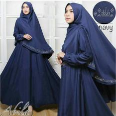 Baju muslim/pakaian wanita muslim/Gamis set Abila pita songket silver syari Matt Balotelli HQ size XL (6 color)