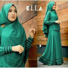 Baju muslim/pakaian wanita muslim/Gamis set Ella syari Matt Jersey super size L- Besar (13 color)