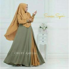 Baju muslim/pakaian wanita muslim/Gamis set Sanisa syari Matt Full Jersey size L - Besar (3 color)