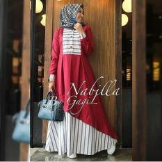 Baju Nabila Dress Baloteli Maxi Modern Cewek Gamis Panjang Hijab Casual Pakaian Wanita Murah