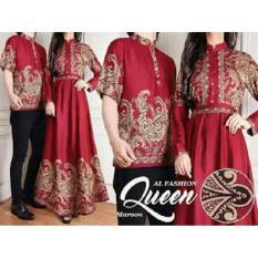 Baju Online - Pakaian Couple Muslim Batik Modern Sarimbit Keluarga - Kemeja Koko Pria Lengan Pendek - Maxi Maxy Dress Muslimah Dewasa Lengan Panjang - Pesta Kekinian Terbaru Murah - Warna Hitam Mocca Merah Biru