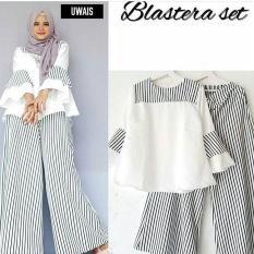 Baju Orginal Blaster Setelan Katun Celana + Atasan Wanita Muslim Modern Jumsuit Panjang Muslimah Simple Trend 2018