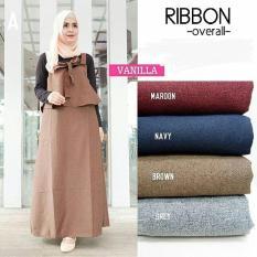 Baju Orginal Ribbon Overall Balotely Celana + Atasan Wanita Muslim Modern Jumsuit Panjang Muslimah Simple Trend 2018