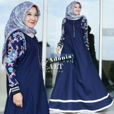 Baju Original Adonia Dress Balotelly Apl Sablon Gamis Panjang Hijab Casual Pakaian Wanita Terbaru Tahun 2018