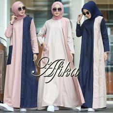 Baju Original Afika Dress Balotely Gamis Panjang Hijab Casual Pakaian Wanita Muslim Modern Maxy Terbaru Tahun 2018