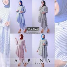 Baju Original Albina Tunik Katun Salur Pakaian Wanita Muslim Modern Muslimah Panjang Casual Simple Murah