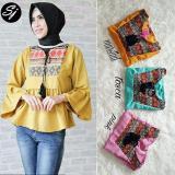 Jual Baju Original Alfa Top Blouse Ballotely Mix Songket Baju Atasan Wanita Muslim Panjang Pakaian Kerja Santai Casual Tosca Online