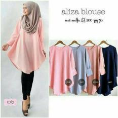 Baju Original Aliza Blouse Wolfis Baju Atasan Wanita Muslim Panjang Pakaian Kerja Santai Casual Simple Warna Navy