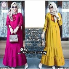 Baju Original Alonza Maxy Dress Wally Crepe Gamis Panjang Hijab Casual Pakaian Wanita Terbaru Tahun 2018