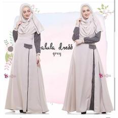 Baju Original Alula Dress Wally Crepe Gamis Panjang Hijab Casual Pakaian Wanita Hijab Modern WarnaGrey