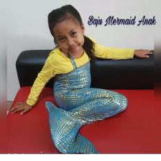 Baju Original Baju Renang Baju Putri Duyung Kostum Mermaid Pakaian Anak Ekor Ikan Biru