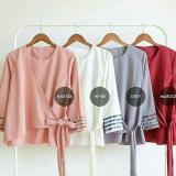 Kualitas Baju Original Blouse Almia Top Blouse Wolfice Baju Atasan Wanita Muslim Panjang Pakaian Kerja Santai Casual Modern Modis Trendy Warna Milktea Baju Original