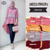 Jual Baju Original Blouse Amecca Pingguin Blus Baju Panjang Wanita Pakaian Modis Casual Modern Baju Kerja Trendy Terbaru 2018 Warna Pink Baju Original
