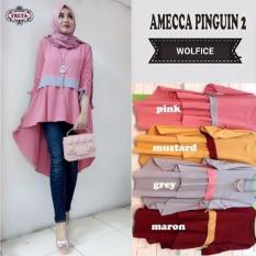 Jual Beli Baju Original Blouse Amecca Pingguin Blus Baju Panjang Wanita Pakaian Modis Casual Modern Baju Kerja Trendy Terbaru 2018 Warna Pink Di Jawa Barat