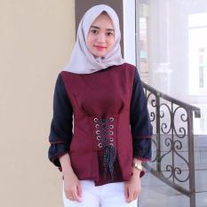 Baju Original Blouse Ashyanti Blus Baju Atasan Panjang Wanita Hijab Modern Baju Kerja Trendy Warna Maroon