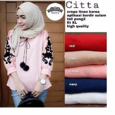 Baju Original Blouse Citta Top Blus Baju Atasan Panjang Wanita Hijab Modern Trendy Warna Latte