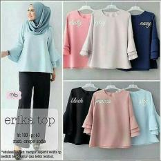Harga Baju Original Blouse Erika Top Wolfice Blouse Pakaian Atasan Wanita Hijab Modern Modis Trendy Warna Sky Blue New