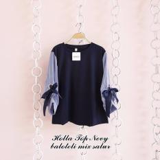 Harga Baju Original Blouse Holla Top Blus Baju Panjang Wanita Pakaian Modis Casual Modern Baju Kerja Trendy Terbaru 2018 Warna Navy Baru