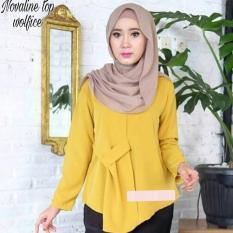 Baju Original Blouse Novalin Blouse Wolfice Baju Atasan Wanita Muslim Panjang Pakaian Kerja Santai Casual Modern Modis Trendy Warna Mustard