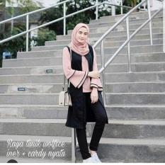 Baju Original Blouse Raya Tunik Wolfice Iner Plus Cardi Menyatu yatu Baju Panjang Wanita Muslimah Pakaian Hijab Modern Casual Simple Trendy Warna Salem