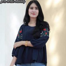 Tips Beli Baju Original Blouse Yora Bordir Blus Baju Atasan Panjang Wanita Hijab Modern Baju Kerja Trendy Warna Navy
