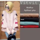 Spesifikasi Baju Original Blus Vitvit Top Blouse Baju Atasan Wanita Muslim Panjang Pakaian Kerja Santai Casual Warna Black