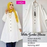 Diskon Baju Original Blus White Jumbo Blouse Katun Baju Atasan Wanita Muslim Panjang Pakaian Kerja Santai Casual Branded