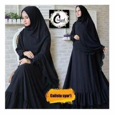 Baju Original Calista Syari Dress Balotelly Gamis Panjang Hijab Casual Pakaian Wanita Hijab Modern WarnaBlack