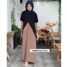 Baju Original Cardif Dress 2 IN 1 Gamis Panjang Hijab Casual Pakaian Wanita Muslim Modern Maxy Terbaru Tahun 2018