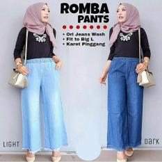 Harga Termurah Baju Original Celana Romba Pants Jeans Casual Bawahan Simple Wanita Hijab Modern Trendy Warna Light