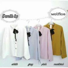 Spesifikasi Baju Original Damita Top Wolfis Baju Atasan Wanita Muslim Panjang Pakaian Kerja Santai Casual Simple Warna White Lengkap