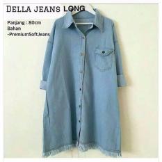 Baju Original Della Jeans Long Tunik Jeans Wash Baju Atasan Wanita Muslim Panjang Pakaian Kerja Santai Casual