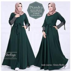 Baju Original Diandra Dress Wolfis Gamis Panjang Hijab Casual Pakaian Wanita Hijab Modern WarnaGreen Botlle