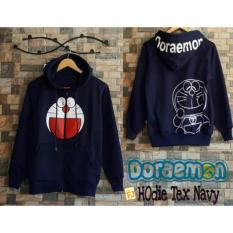 Situs Review Baju Original Doraemon Hodie Text Navy Sweater Wanita Fleece