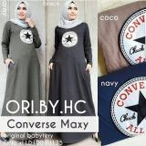 Review Baju Original Dress Convers Maxi Gamis Baju Panjang Casual Wanita Hijab Baju Pesta Modern Trendy Warna Black Baju Original