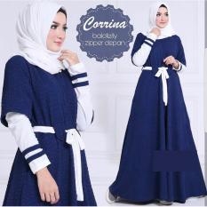 Baju Original Dress Corinna Maxy Gamis Wolfice Baju Panjang Wanita Modern Modis Trendy Casual Lucu Warna Navy Jawa Barat