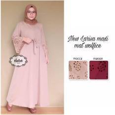 Baju Original Dress New Larisa Maxi Dress Wolfice Pakaian Panjang Wanita Muslim Modern Modis Trendy Warna Mocca